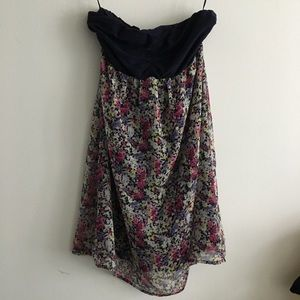 Express Lined Strapless Floral Dress Lined